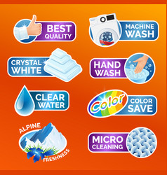 all washing clothes stickers set - micro cleaning vector image