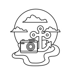 anchor marine with camera photography in beach vector image