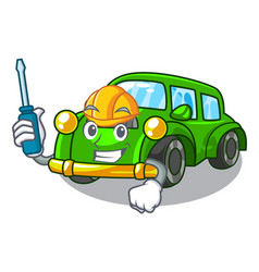 Automotive classic car toys in cartoon shape vector