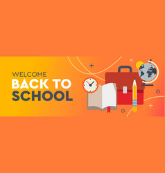 back to school promo horizontal banner for poster vector image