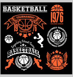 basketball logo emblem set collections designs vector image