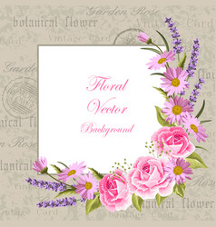 beautiful flowers for invitation card vintage vector image