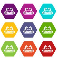 bird social network icons set 9 vector image
