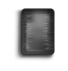 black container with cling film cover realistic vector image