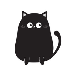Black cute sitting cat kitten looking on tail vector