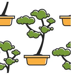 bonsai japanese symbol indoor plant seamless vector image