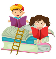 boy and girl reading book together vector image