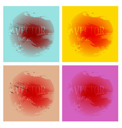Bright rainbow colors watercolor painted stains vector