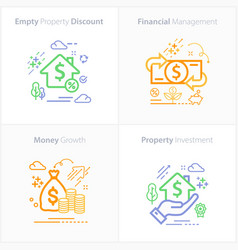 Business and finance flat colorful icon set vector