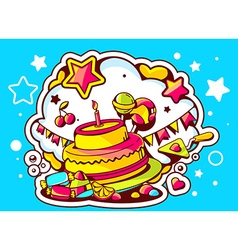 cake with candle sweets and flags on blu vector image
