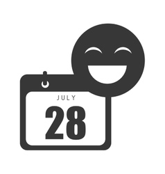 calendar with happy emoticon vector image