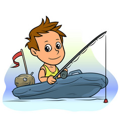 cartoon boy character on blue inflatable boat vector image