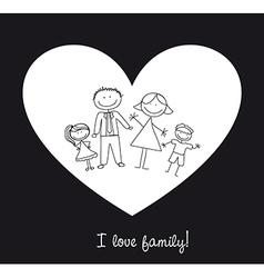 Cartoon family in heart vector