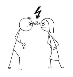 Cartoon man and woman in fight anger vector