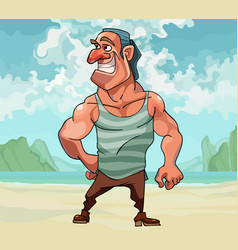 cartoon muscular man happily smiling while vector image
