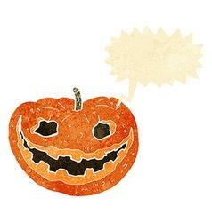 Cartoon spooky pumpkin with speech bubble vector