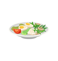Ceramic plate with boiled eggs fresh vegetables vector