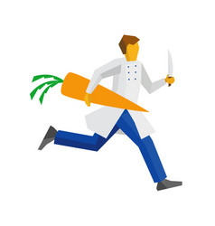 chef runs with knife and giant carrot vector image