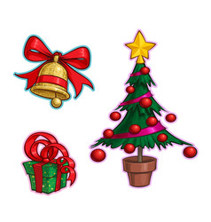 christmas cartoon icon set - bell gift tree vector image