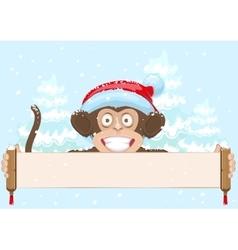 Christmas monkey in santa hat symbol 2016 year vector image