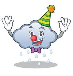 Clown rain cloud character cartoon vector
