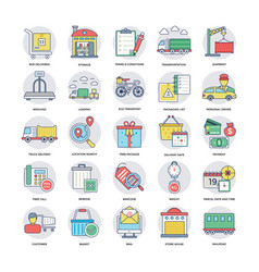 colorful flat icons of logistics delivering vector image