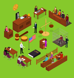 Court session concept 3d isometric view vector