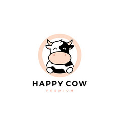 Cow round circle logo icon vector