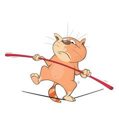 Cute cat acrobat cartoon vector