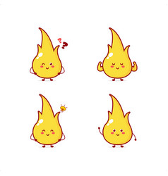 Cute fire character smile happy masco vector