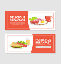 Delicious homemade breakfast social media banner vector