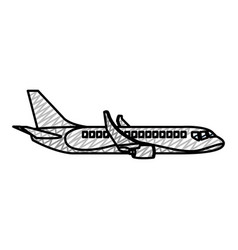 doodle side travel airplane international vector image