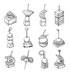 finger food sketch banquet catering small meal vector image