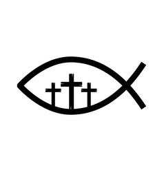 fish religious symbol with cross vector image