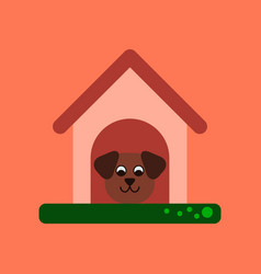 Flat icon on background dog in booth vector