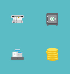 Flat icons teller machine small change strongbox vector