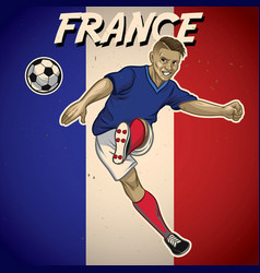 france soccer player with flag background vector image