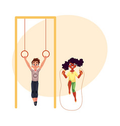 Friends playing with gymnastic rings and jumping vector