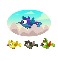 Funny cartoon flying different birds vector image