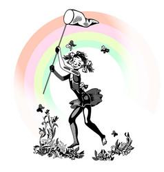 girl and rainbow vector image