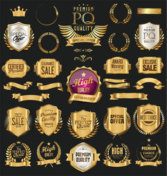 golden retro labels badges frames and ribbons vector image