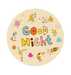 good night circle design vector image