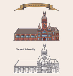 Harvard university building for education vector
