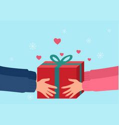 human hands giving present vector image