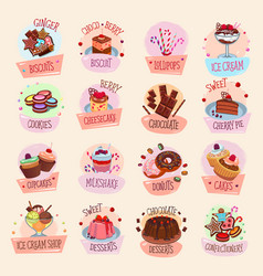 Icons bakery cakes confectionery desserts vector