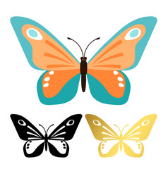 icons butterflies isolated on white vector image