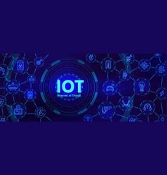 iot technology digital banner for internet of vector image