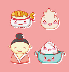 japanese gastronomy cute kawaii cartoons vector image