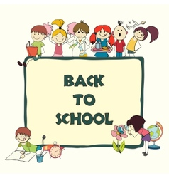 Kids school sketch banner vector