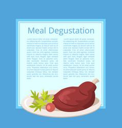 meat degustation on blue vector image